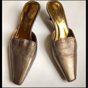Donald J Pliner gold kitten heels sz 5.5 mules